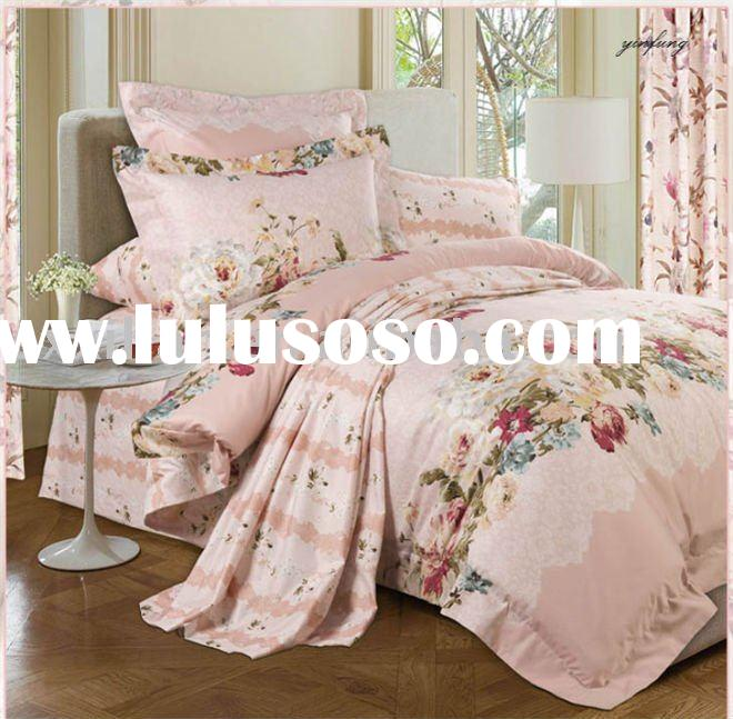 100%cotton satin printed bed duvet quilt cover set/ bed sets/DUVET COVER SET