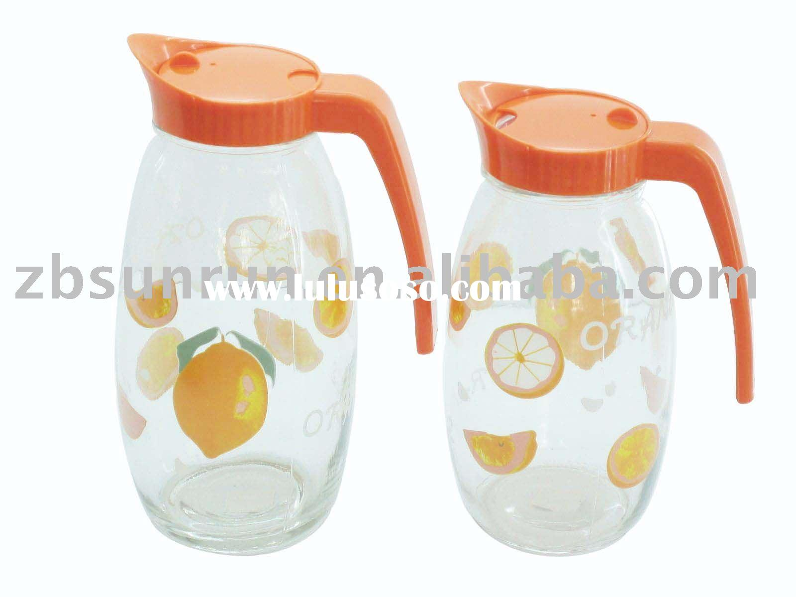 Glass Juice Jar with plastic Lid and Decal