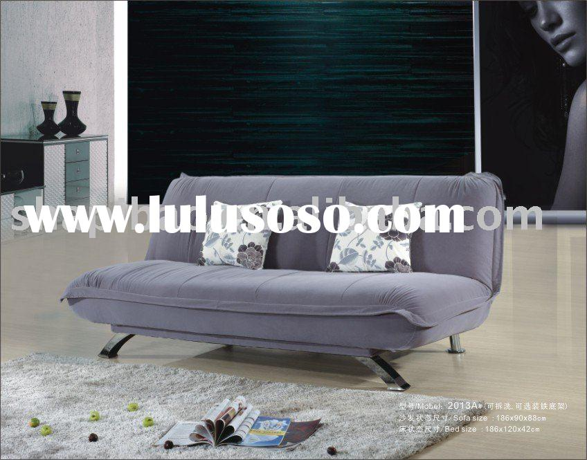 Modern Convertible Purple Fabric Sofa Bed couch With Pillows