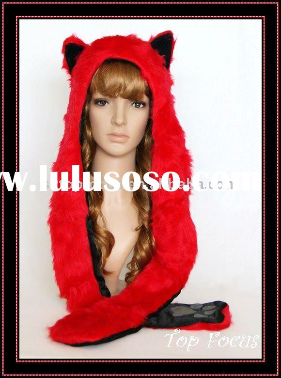 WINTER ANIMAL HATS FOR ADULTS/KIDS WITH LONG SCARF AND MITTEN FIRE WOLF