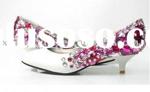 WS087 stylish low heel purple crystal women's bridal wedding rhinestone shoes