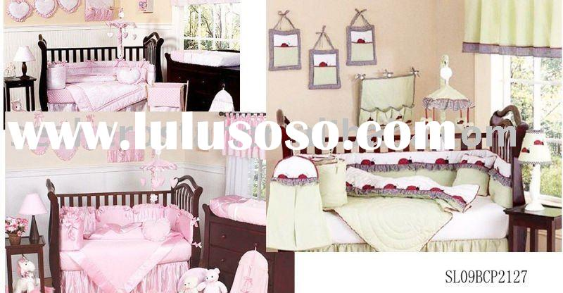 applique embroidery baby crib bedding set