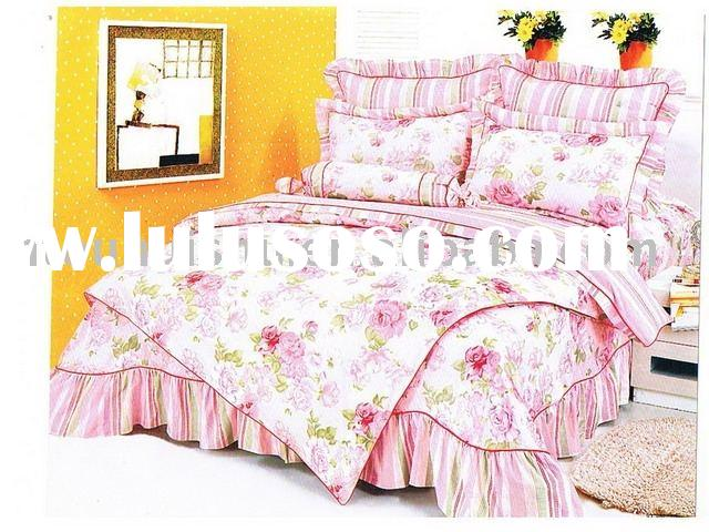 bed skirt type Printed Bedding Set,bed,queen bedding