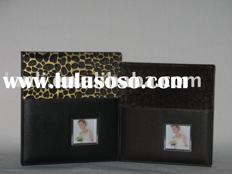 leather photo albums black pages with PU leather cover wedding style