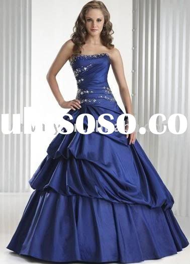 beades white and royal blue wedding dress SC1296