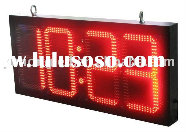 """12"""" 88:88 Outdoor Red LED Time Clock and Temperature Display"""