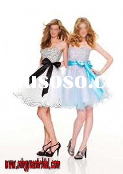 2011 party min Appliqued crepe hot sell prom dress