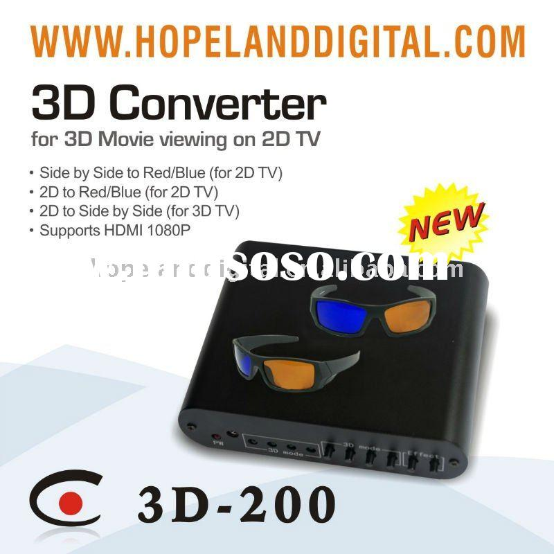 2D to 3D TV Converter Box with Amber&Blue Glasses