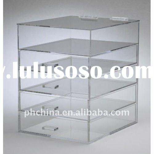 5 Tier 4 Drawers Clear Acrylic Makeup Organizer / Makeup Cube Box with a Lid
