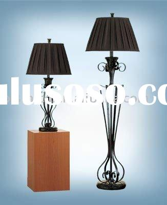 Hand crafted iron lamp with hand sewn silk shade,talbe lamp, floor lamp
