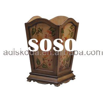 Hand-painted Wooden Waste Bin (27-029)
