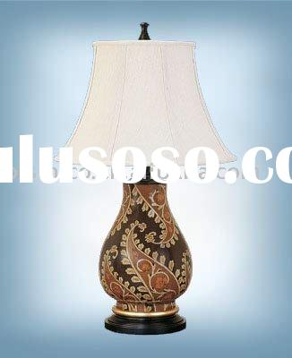 Hand painted porcelain lamp with shade