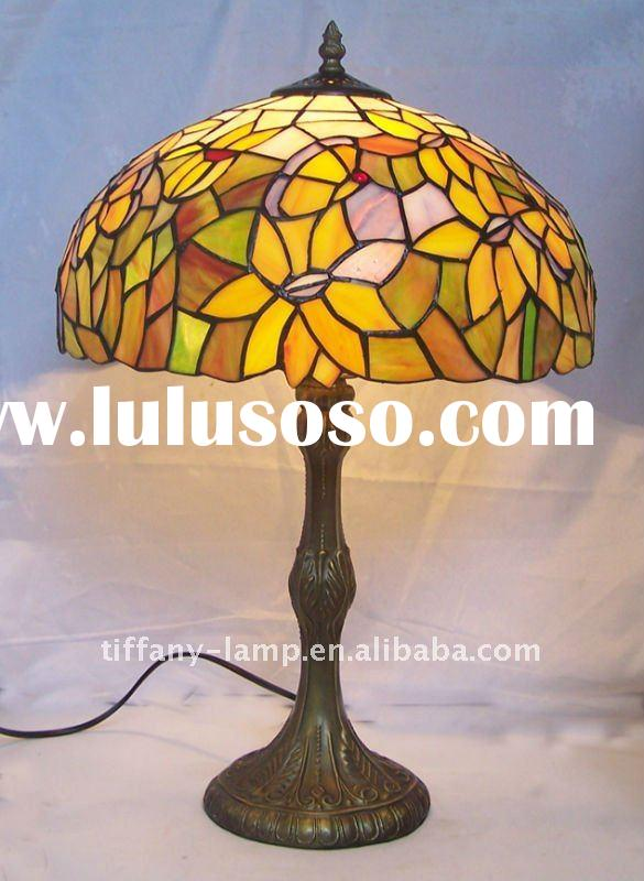Stained glass shade matches resin lamp base