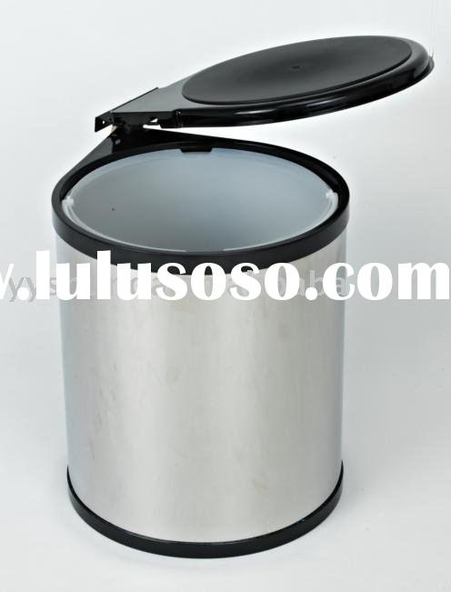 Stainless steel round rubbish bin kitchen dustbin