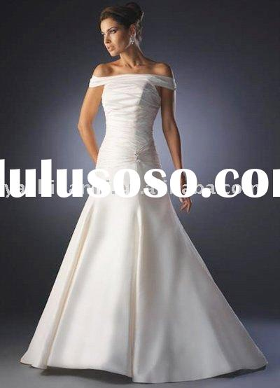 WB-GQ48051 Ivory A line Off The Shoulder Satin Wedding Dress