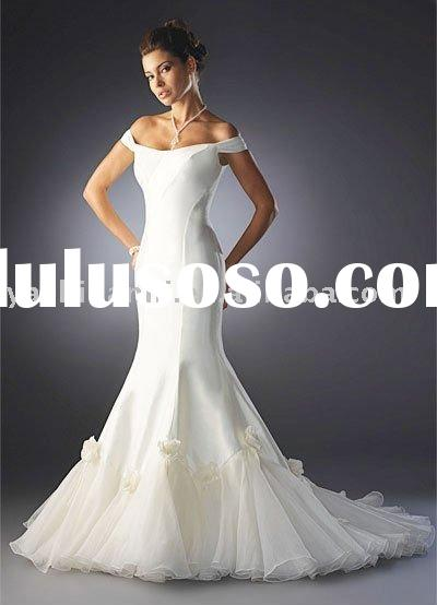 WB-GQ48052 Mermaid Trumpet Off The Shoulder Satin Wedding Dress