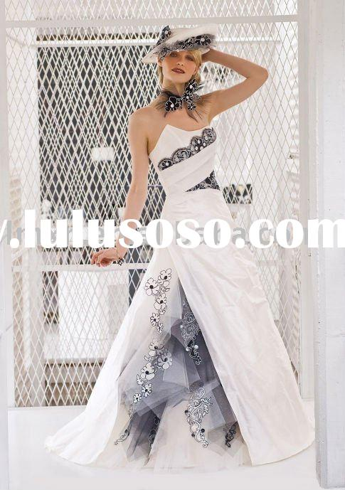 free shipping 2011 new arrival A-line off-shoulder black lace wedding dress