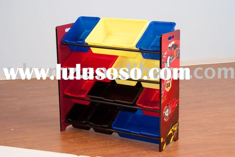 kids toy shelf with 9 plastic bins