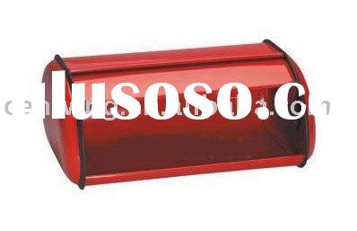 stainless steel bread bin with red color WK-BZ609
