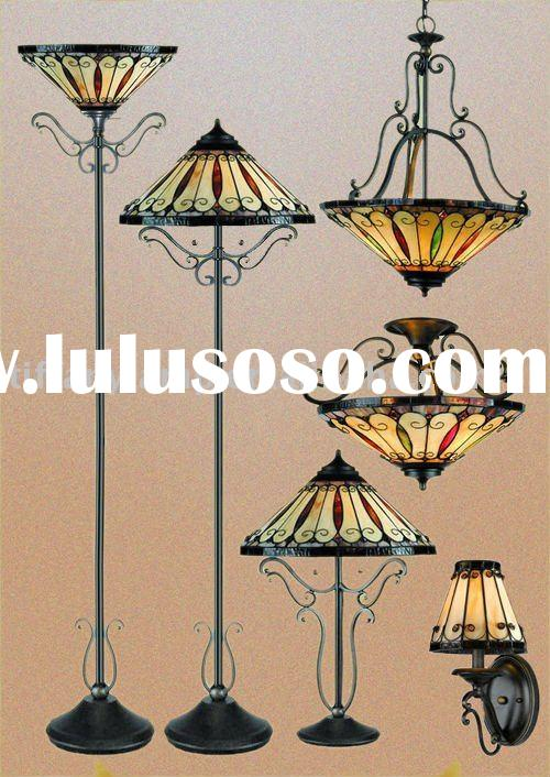tiffany lamp metal base stained galss shade