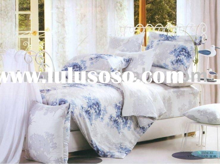 100% Cotton Twill Silk Tencel Fabric High Quality 4pc Bedding Set, New Arrival, Blue Color, Discount
