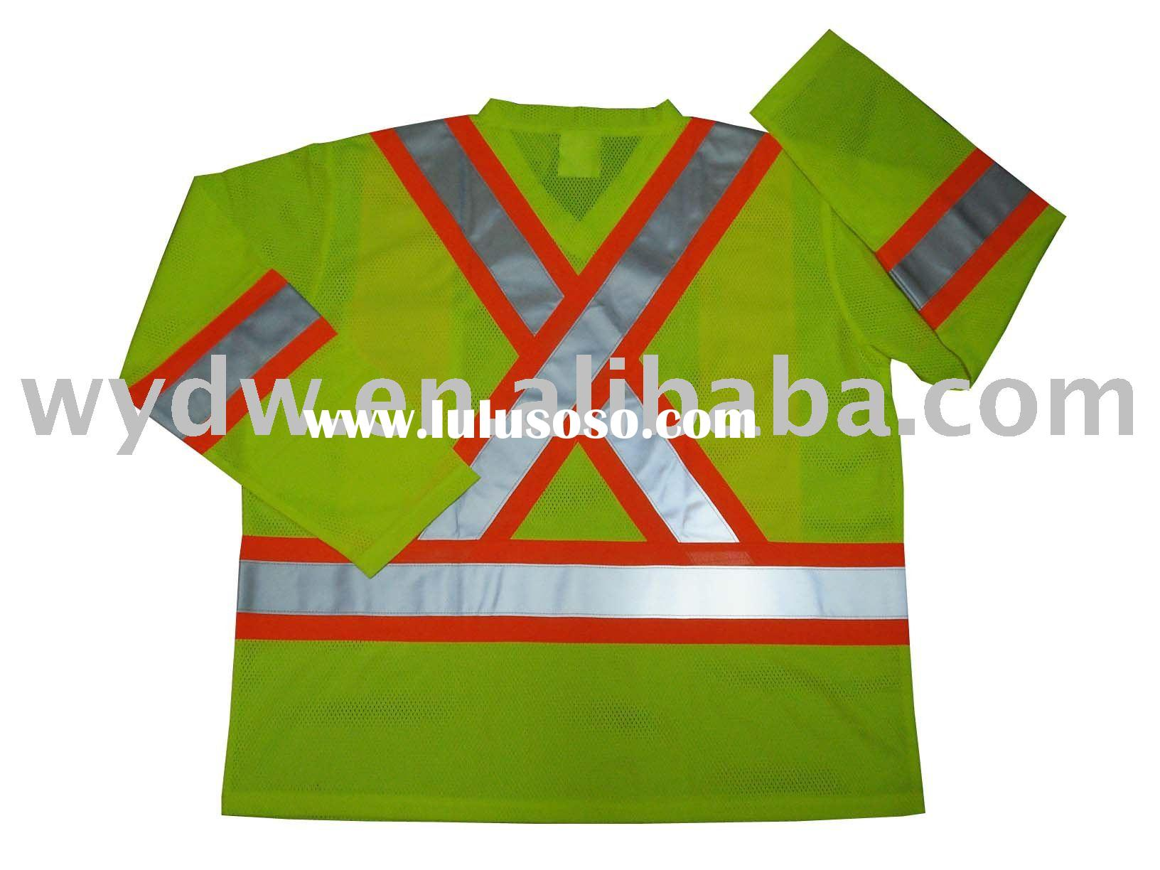 100%polyester traffic Safety tee shirt,3M Hi-visibility safety long sleeve t-shirts,Reflective tee s