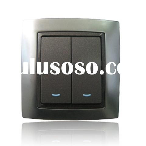 10A 250V 2 gang 1 way Electrical Switch with big panel