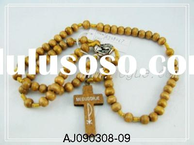 10mm Wooden Rosaries Necklace,Wood Rosary,Wooden beads Necklace