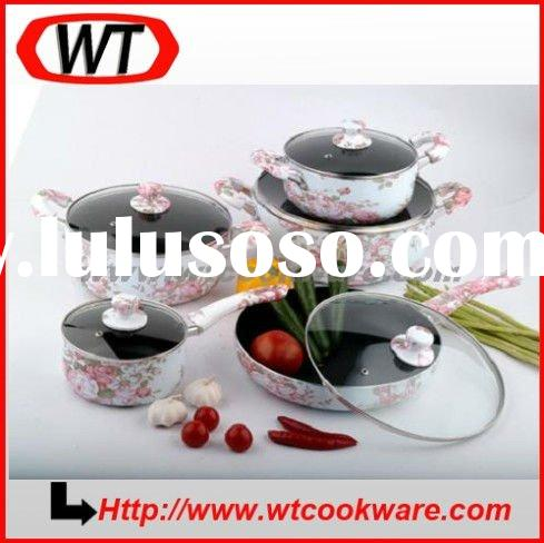 10pcs Flower Enamel Cookware set