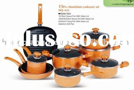 15 pcs Marble Paint Heat resistant Aluminum cookware set