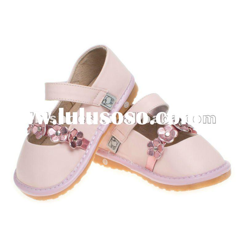 2012 nice Girls' leather toddler squeaky baby shoes pink SQ-A11304-PK