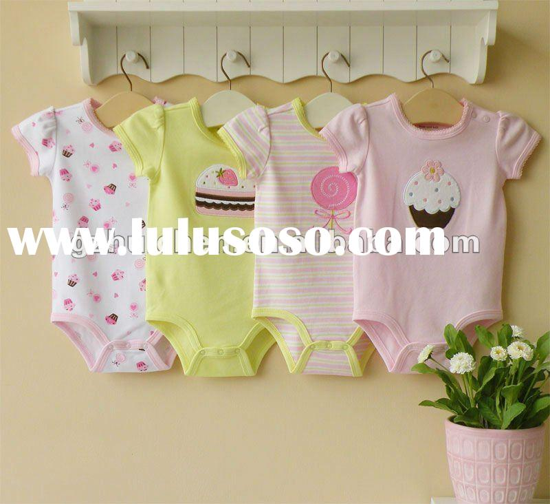 2012 summer mom and bab baby clothes 100% cotton embroidered short sleeve bodysuit