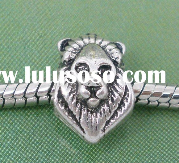 20 Silver Tone Lion Face Charm Beads. Fit Charm Bracelet 13x9mm