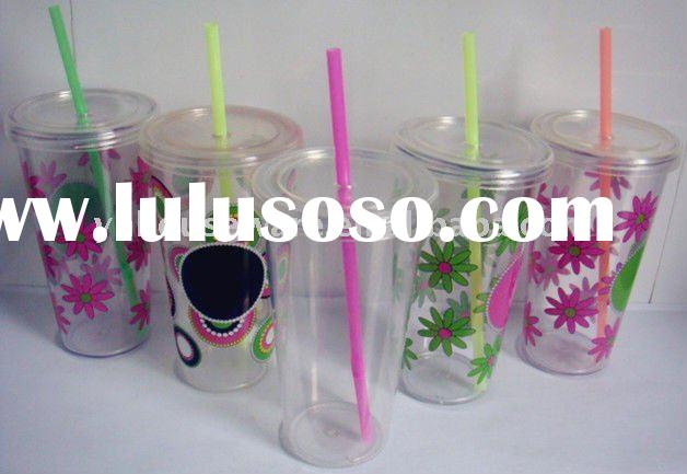 24oz plastic straw cup with lid