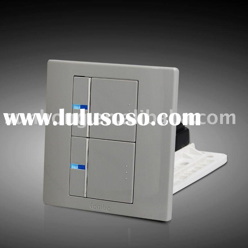 2 Gang Soft Touch Reset Electrical Wall Mounted Switches with LED Light