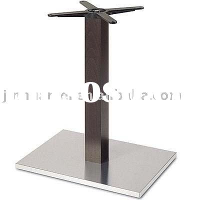 343SI Rectangular Stainless Steel Table Base with Imitated Wood Column