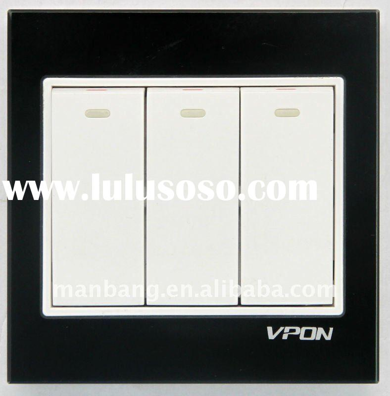 3 gang electrical wall switch (Crystal panel)