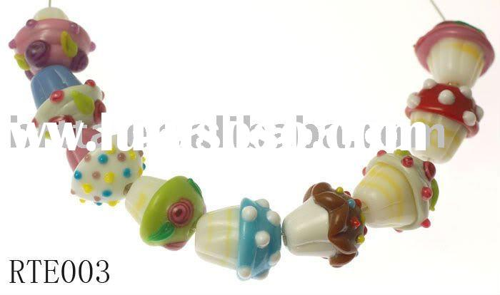 9 Pairs Handmade Lampwork Glass Cupcake Beads MIX,cupcake are 15-16mm high, 15-16mm wide on the top