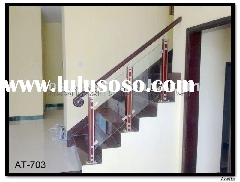aluminum and wood interior stair railings