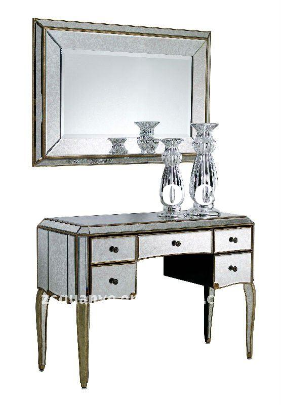 Antique furniture with frame mirror and hand painted french console table