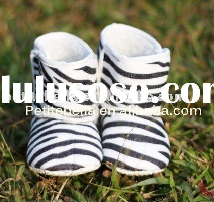 Black White Zebra Print Newborn Baby Boots Pettishoes Crib Shoes MASB01