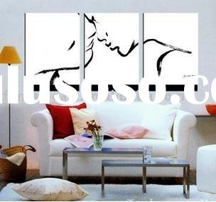 Black and White Abstract Modern Figure Painting-The kiss