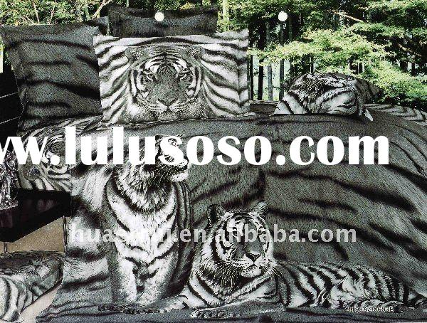 Black and White tiger Photo printed Bed sheet/Bedding sheet