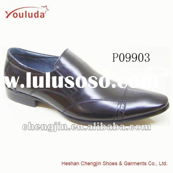 Black casual spanish leather shoes P09903