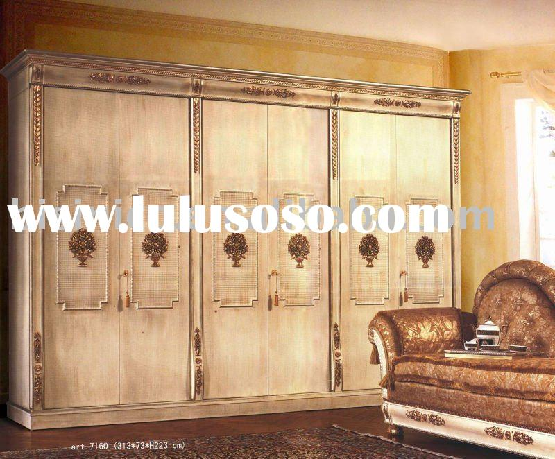 Classical wood home white colour 6 doors wardrobe,armoire, hand carved,MOQ:1PC(B23586)