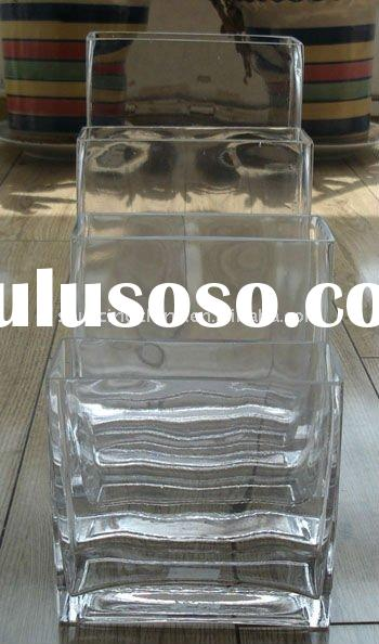 Clear glass rectangular vase & candle holders