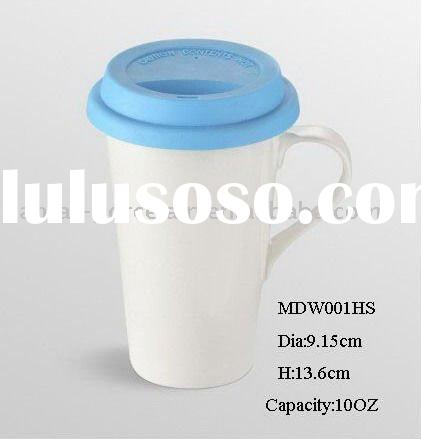 Ecofriendly reusable double wall porcelain mug w/ silicone lid & handle