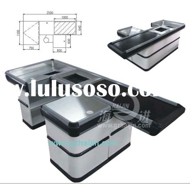 Electric checkout counter with conveyor bel/supermarket checkout equipment-HJ-01