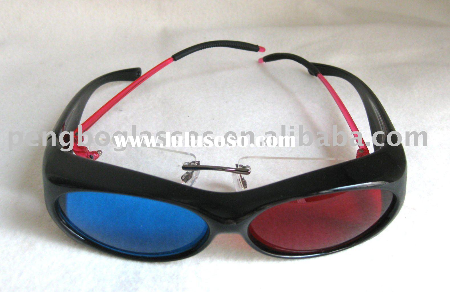 Fit-over style red blue 3d glasses,3D plastic eyewear (sample charge free)