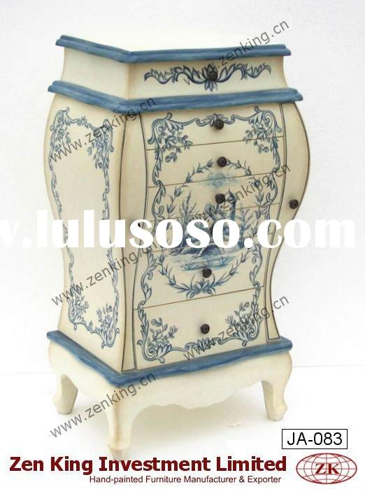 French Country Style Wooden Bombay Jewelry Armoire